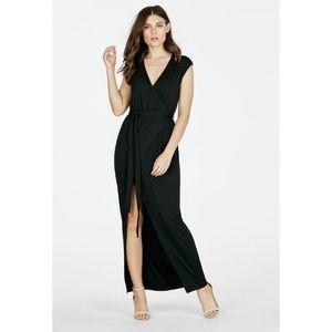 JustFab Black Caged Faux Wrap Maxi Dress
